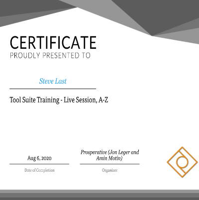 Tool Suite Marketing Training Certificate Awarded