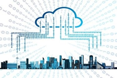 Google's storage in the cloud illustrated graphically for a city.